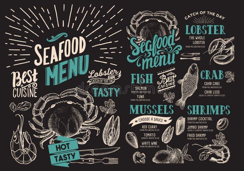 Menu de fruits de mer pour le restaurant sur le fond de tableau Foo de vecteur illustration de vecteur