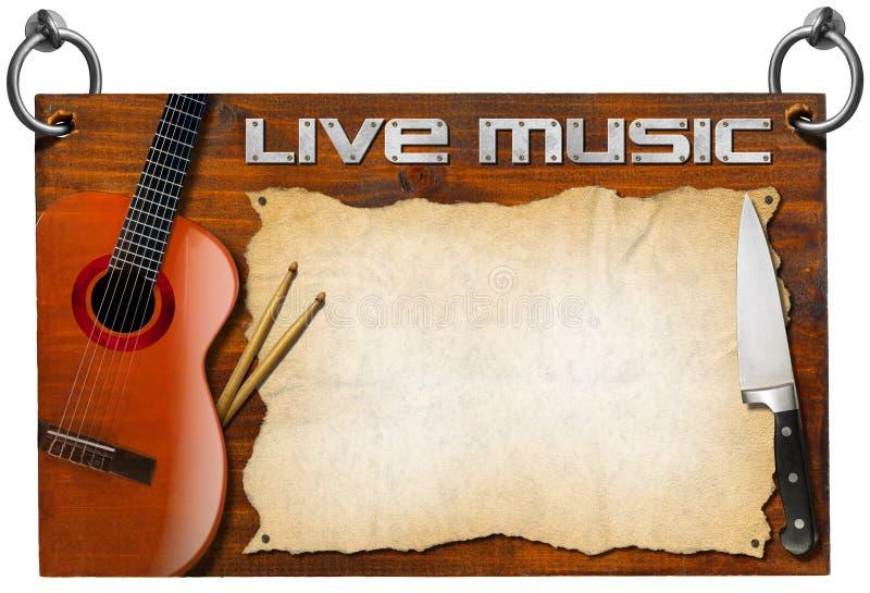 Menu de Live Music et de nourriture illustration de vecteur