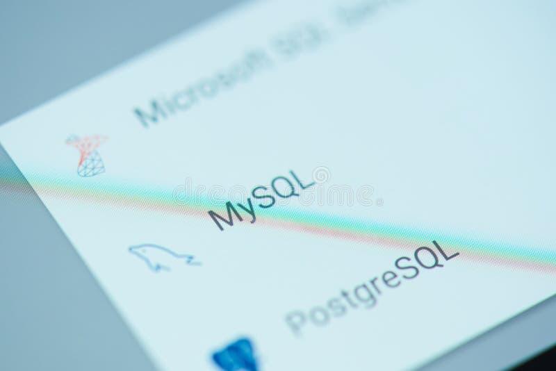 Menu de moblie de Microsoft SQL photographie stock libre de droits