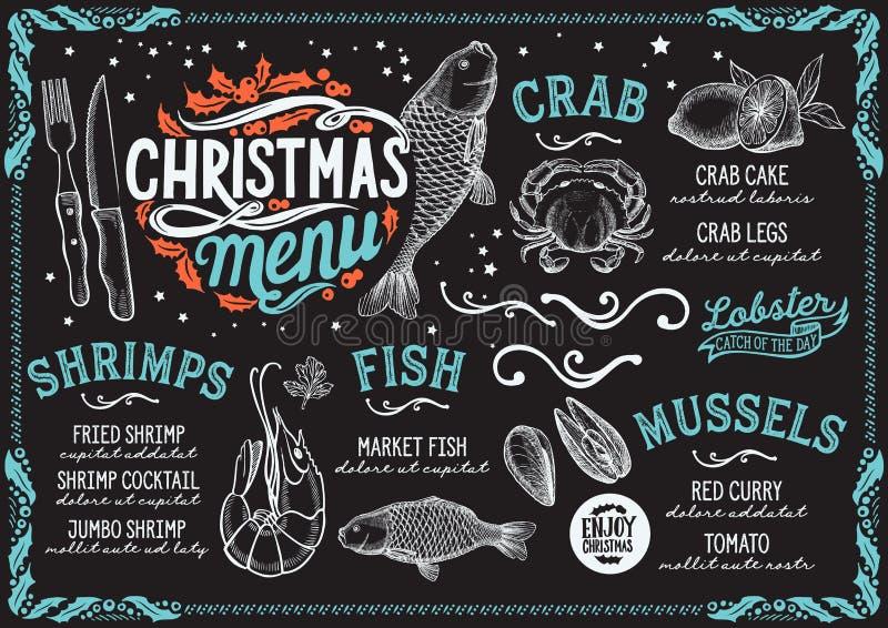 Menu de Noël pour le restaurant de fruits de mer, calibre de nourriture illustration stock