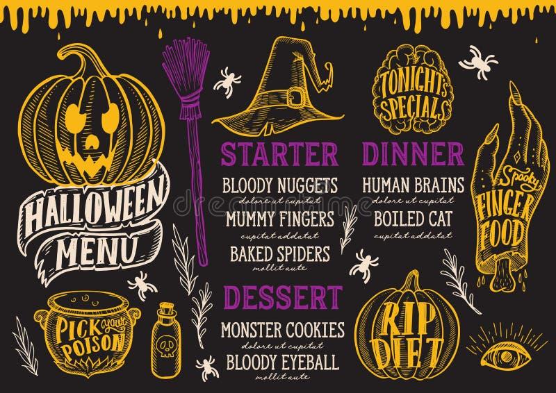 Menu de nourriture de Halloween sur un tableau illustration de vecteur