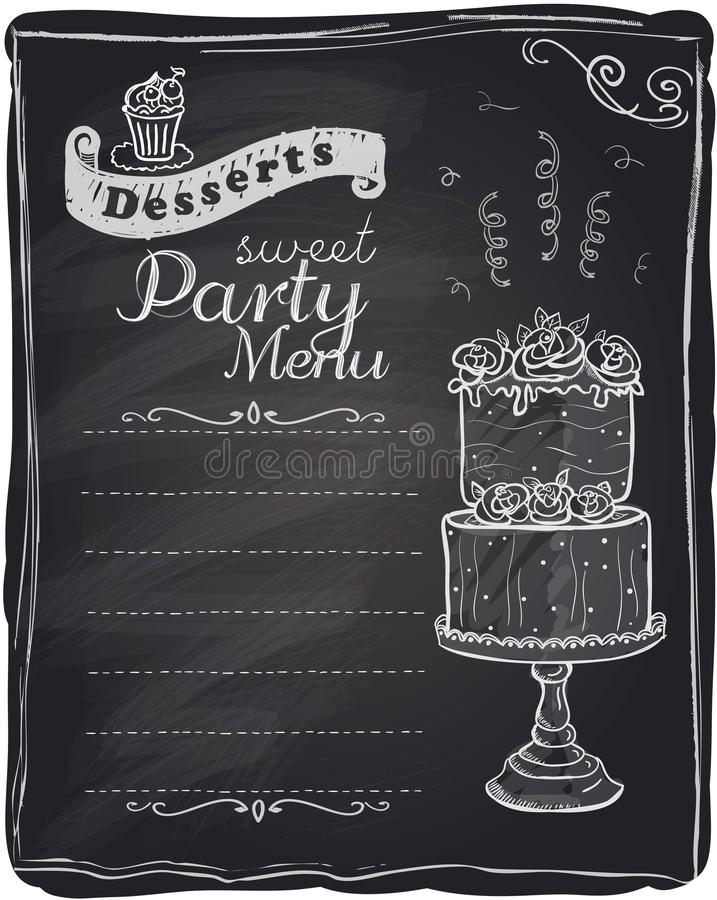 Menu de partie de desserts de craie. illustration stock