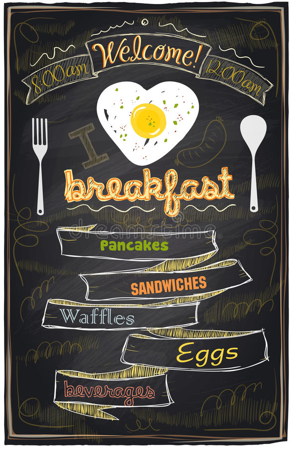 Menu de petit déjeuner de craie. illustration stock
