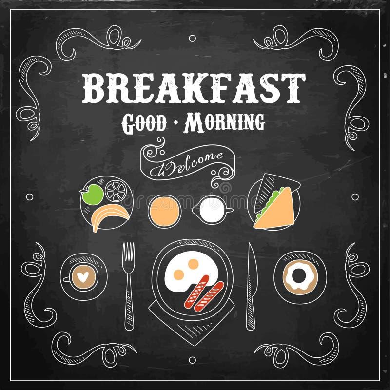 Menu de petit déjeuner de tableau Illustration de vecteur illustration libre de droits