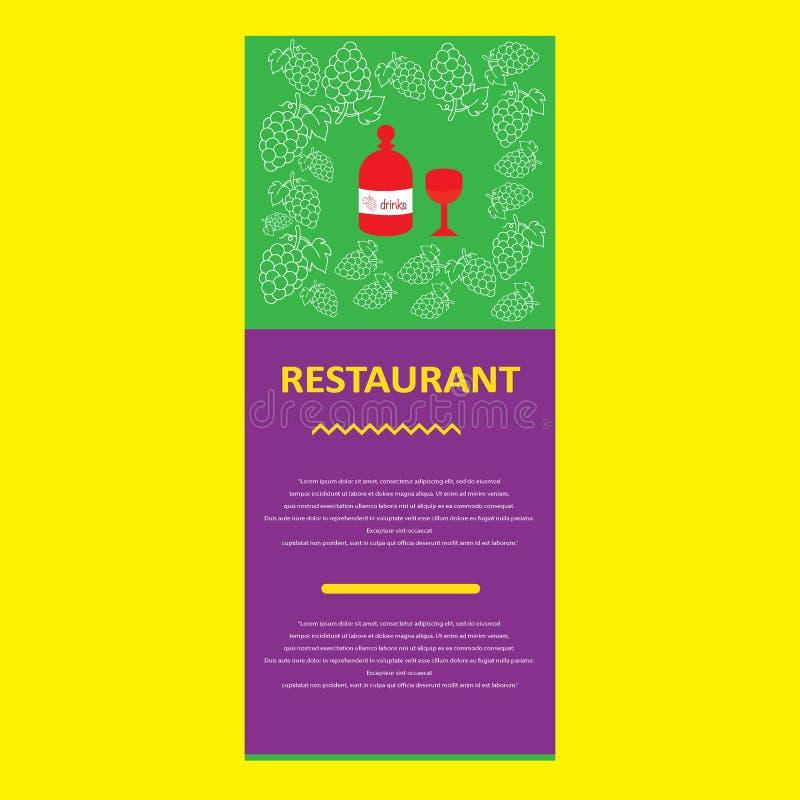 Menu de restaurant avec les éléments tirés par la main de griffonnage de boissons photographie stock