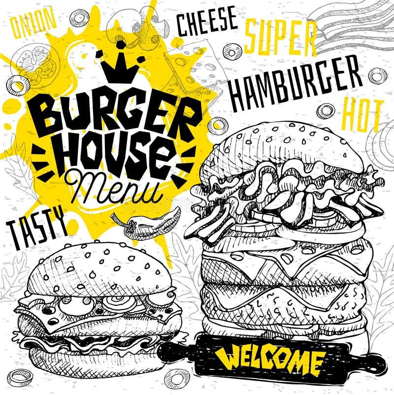Menu de restaurant de café de maison d'hamburger Dirigez les sous cartes d'insecte d'aliments de préparation rapide de sandwichs  illustration libre de droits
