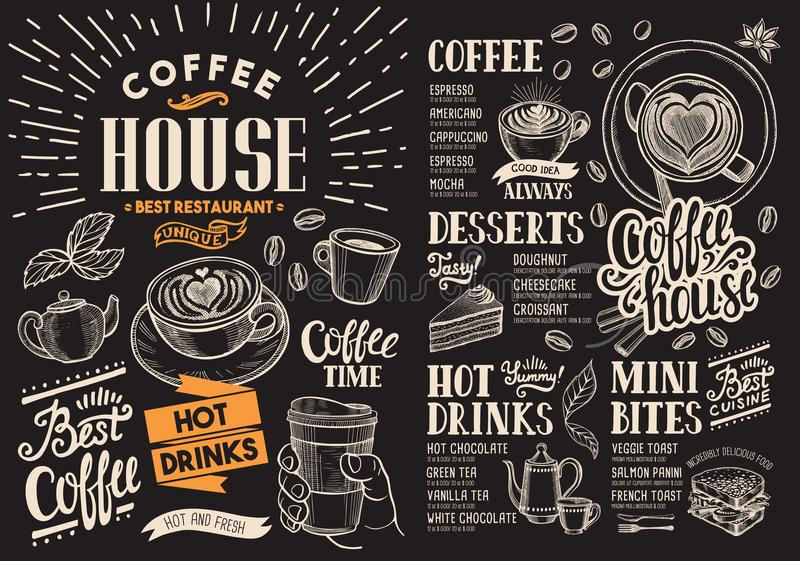 Menu de restaurant de café sur le tableau Insecte de boissons de vecteur pour la barre illustration libre de droits