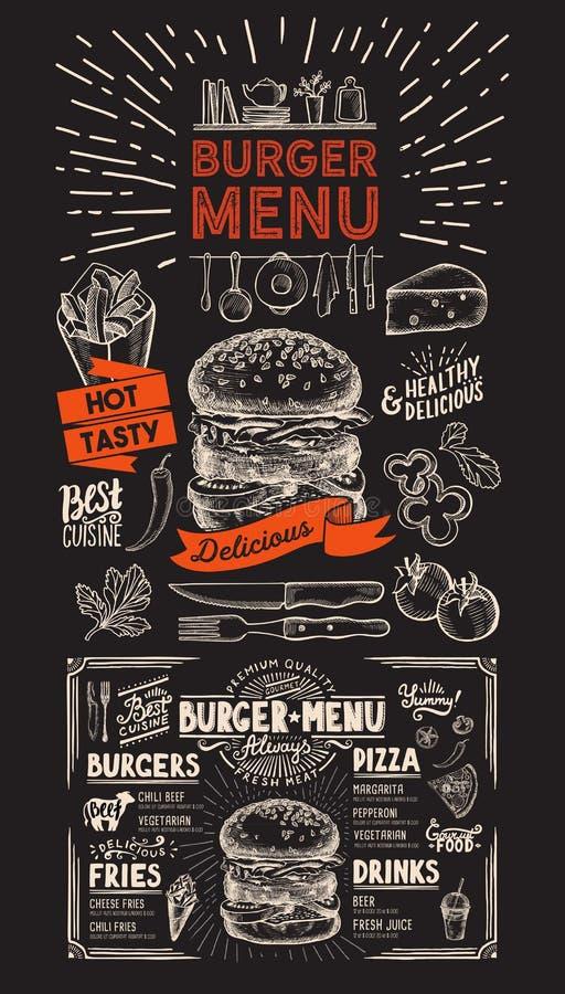 Menu de restaurant d'hamburger sur le fond de tableau Mouche à nourriture de vecteur illustration libre de droits
