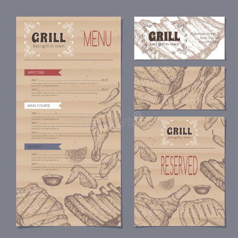 Menu de restaurant de gril de vintage et calibre de cartes de papeterie avec le croquis tiré par la main illustration stock