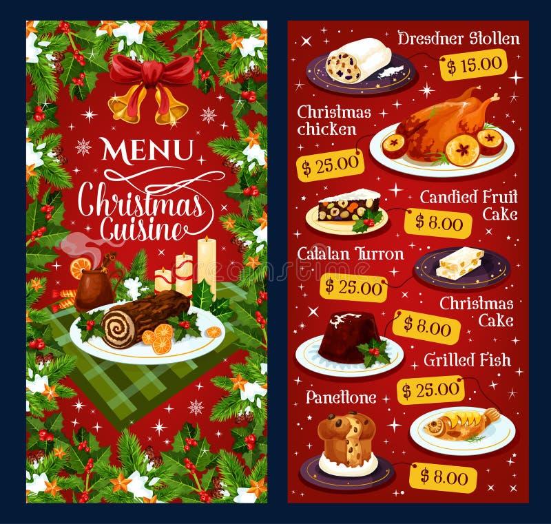 Menu de restaurant de vecteur de cuisine de dîner de Noël illustration de vecteur