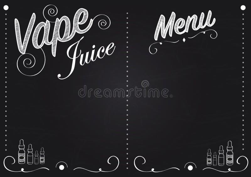Menu de style de tableau de jus de vape de Vaping avec des illustrations des bouteilles de jus de vape illustration stock