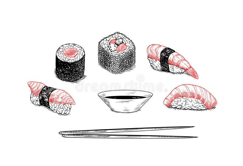 Menu de sushi de conception de vecteur - illustration tirée par la main image stock