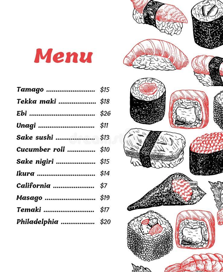Menu de sushi de conception de vecteur - illustration tirée par la main photos stock