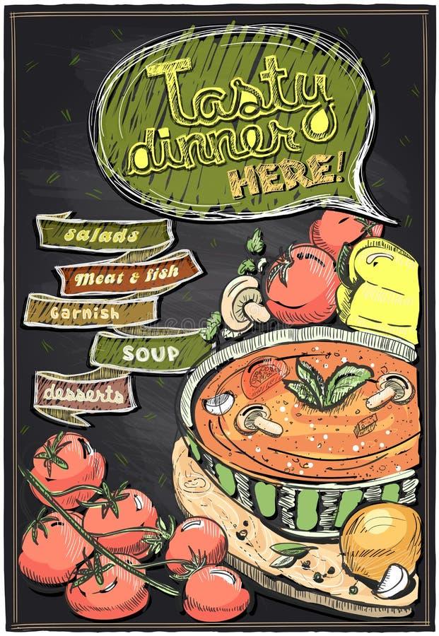 Menu de tableau avec la soupe illustration de vecteur