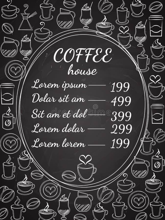 Menu de tableau de café illustration stock
