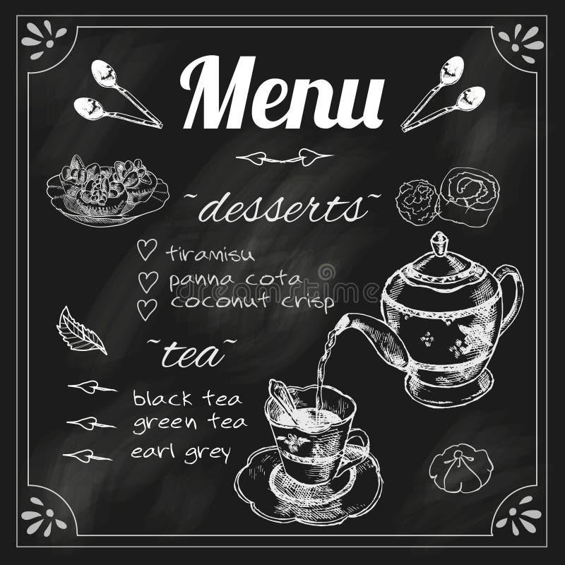 Menu de tableau noir de théière et de tasse de thé illustration de vecteur