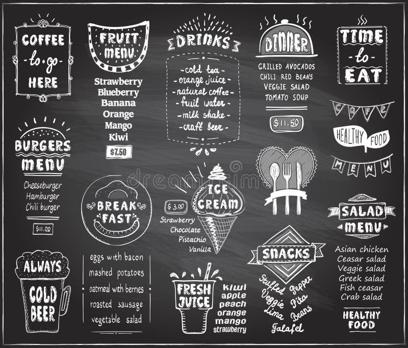 Menu de tableau pour le café ou le restaurant - menu de café, de menu de fruit, d'hamburgers, de bière froide, de petit déjeuner  illustration de vecteur