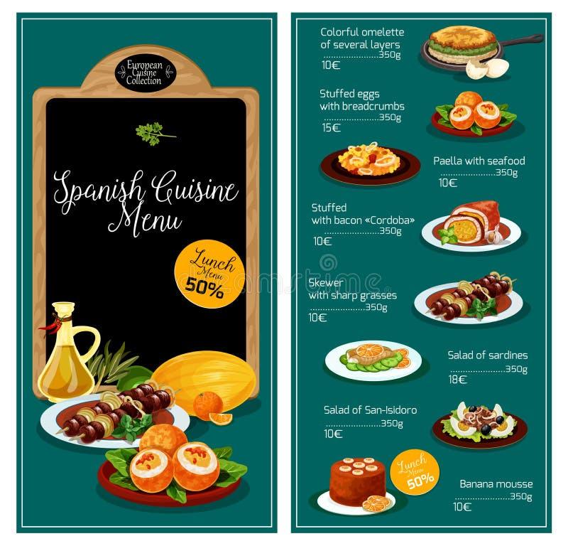 Menu de vecteur pour le restaurant espagnol de cuisine illustration stock