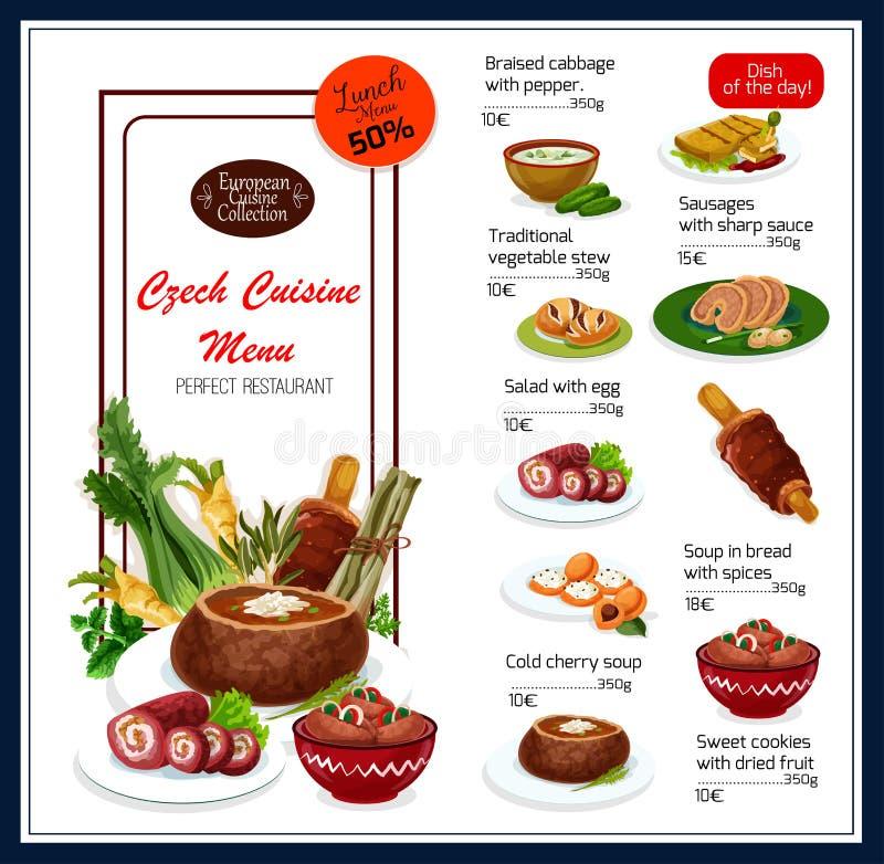 Menu de vecteur pour les plats tchèques de cuisine illustration stock