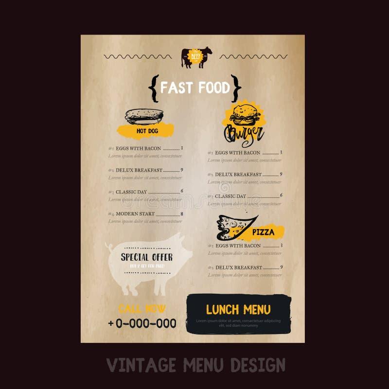 Menu degli alimenti a rapida preparazione nello stile d'annata con il maiale su fondo di carta Modello del manifesto del BBQ per  royalty illustrazione gratis