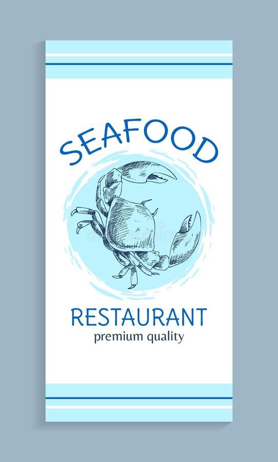 Menu dei frutti di mare per il ristorante di qualità premio illustrazione vettoriale