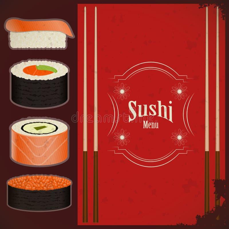 Menu dei sushi dell'annata illustrazione di stock