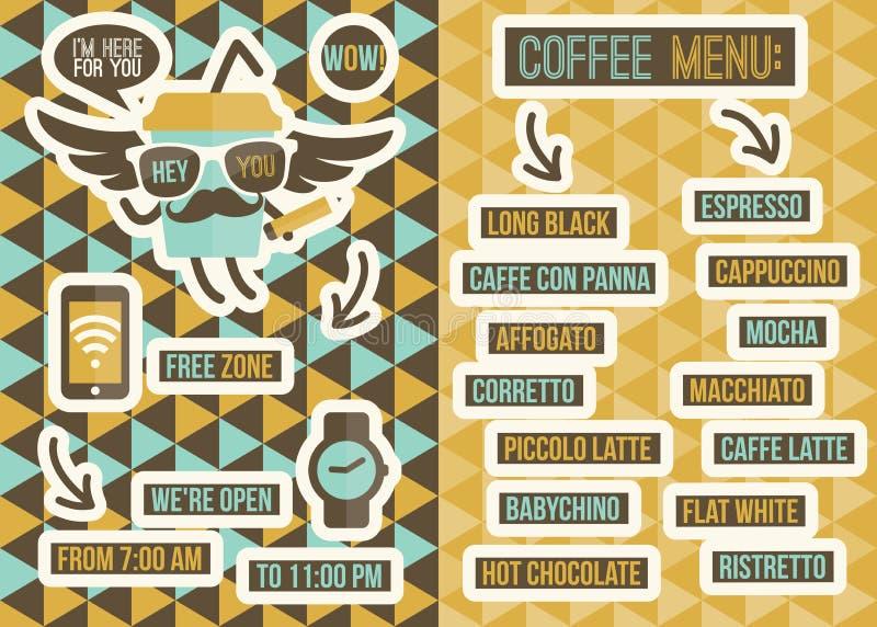 Menu del caffè. Ambiti di provenienza ed elementi senza cuciture di progettazione illustrazione vettoriale