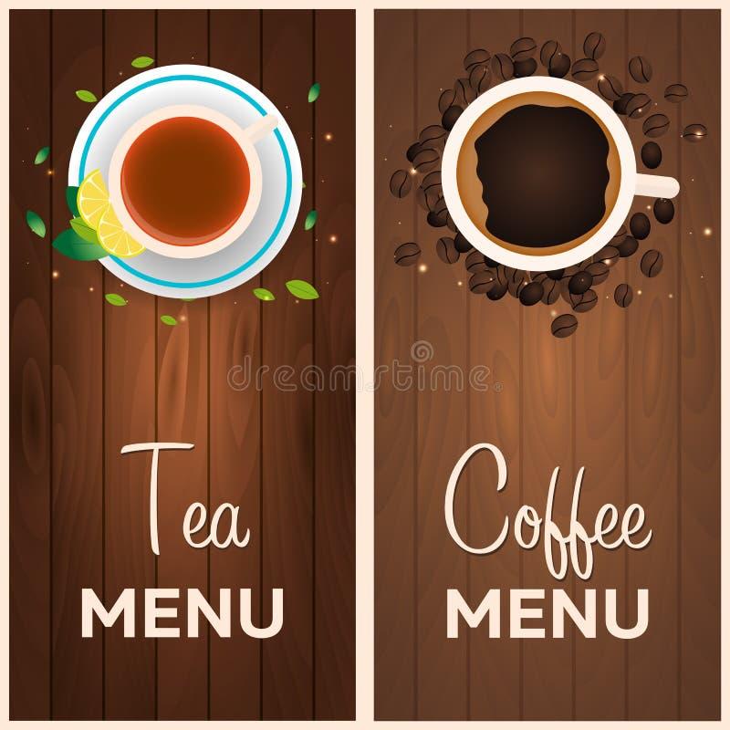 Menu del caffè e del tè Priorità bassa di legno Illustrazione di vettore royalty illustrazione gratis
