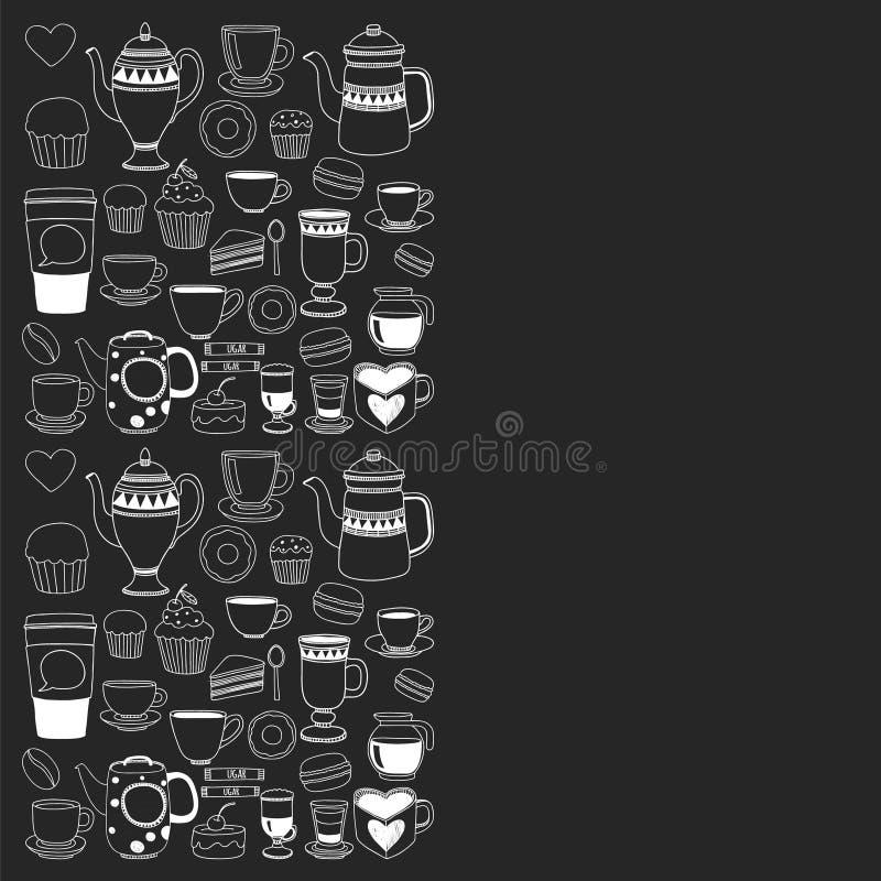 Menu del caffè Modello di vettore con cappuccino, caffè espresso Cucina, cucinante, bevande illustrazione vettoriale