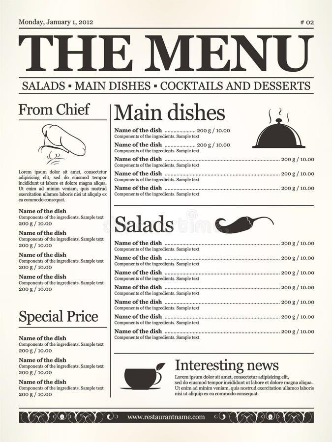Menu del ristorante royalty illustrazione gratis