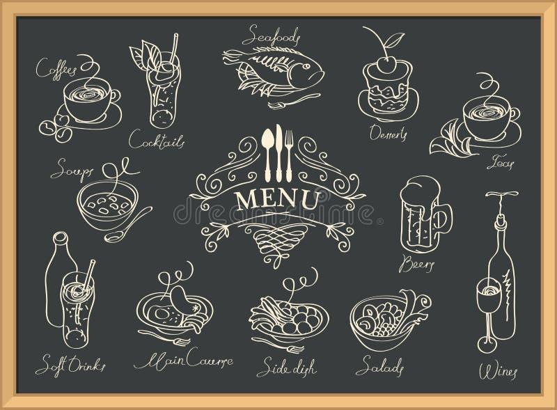 Menu del ristorante con gli schizzi dei piatti differenti illustrazione di stock