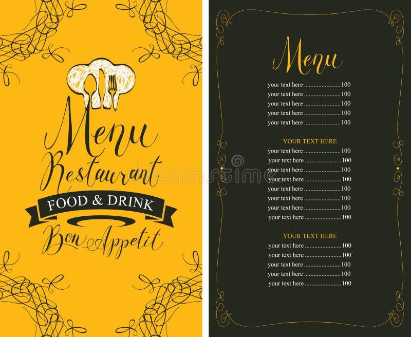 Menu del ristorante con il listino prezzi, il toque e la coltelleria royalty illustrazione gratis