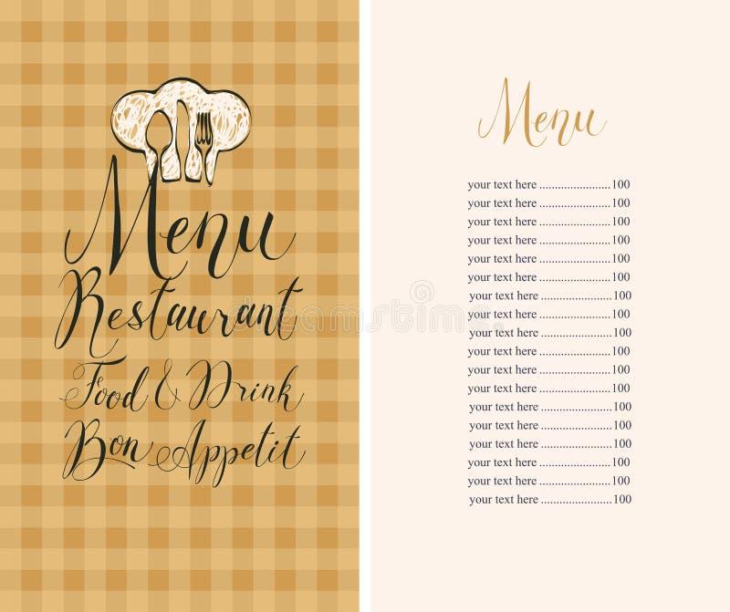 Menu del ristorante con il listino prezzi, il toque e la coltelleria illustrazione di stock