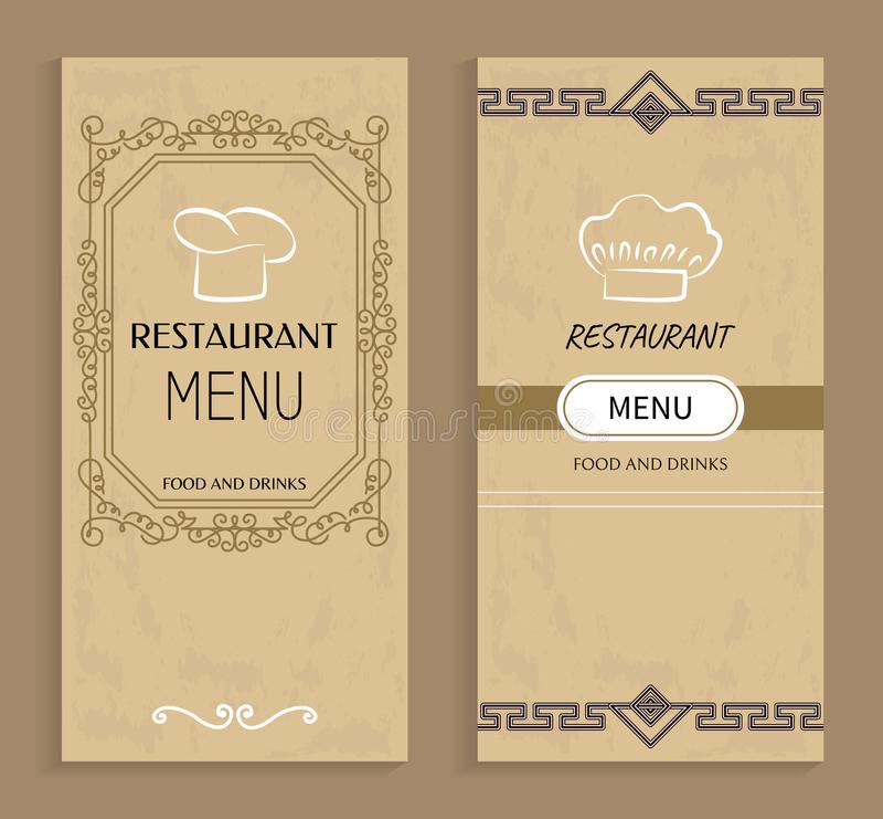 Menu del ristorante con le bevande ed i modelli dell'alimento illustrazione vettoriale