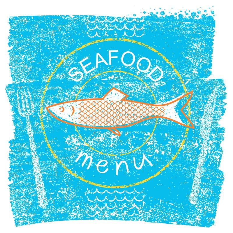 Menu del ristorante dei frutti di mare su vecchio fondo d'annata di carta blu illustrazione vettoriale