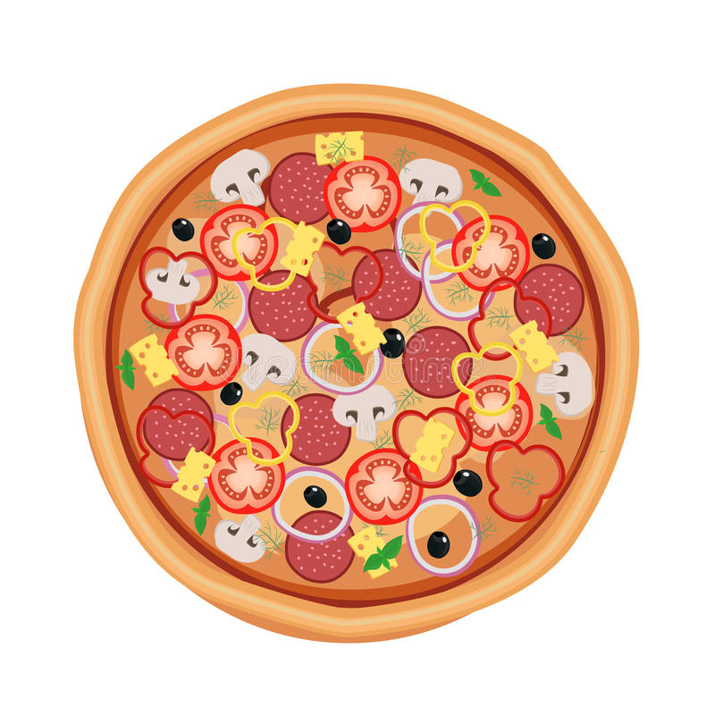 Menu del ristorante della pizza Ingredienti per il caffè Illustrazione di vettore illustrazione vettoriale