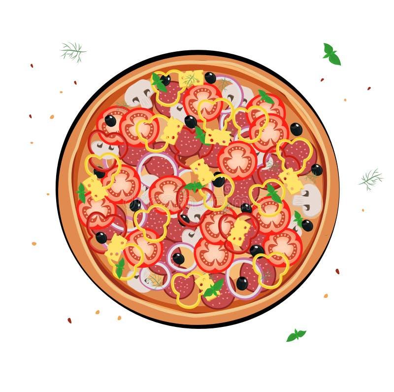 Menu del ristorante della pizza Ingredienti per il caffè Illustrazione di vettore illustrazione di stock