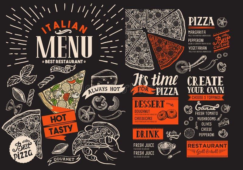 Menu del ristorante della pizza Vector l'aletta di filatoio dell'alimento per la barra ed il caffè sul cha illustrazione di stock