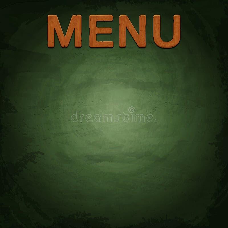 Menu del ristorante fatto di legno sul fondo della lavagna illustrazione vettoriale