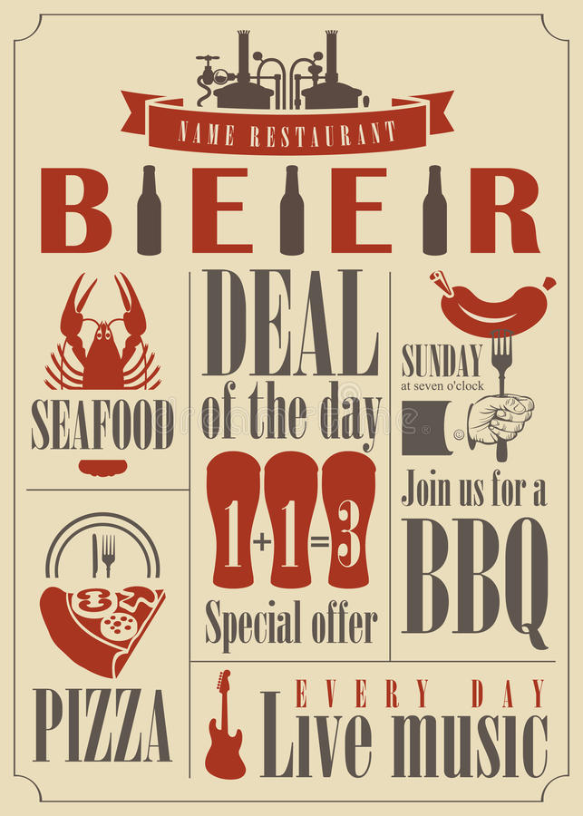Menu della birra royalty illustrazione gratis