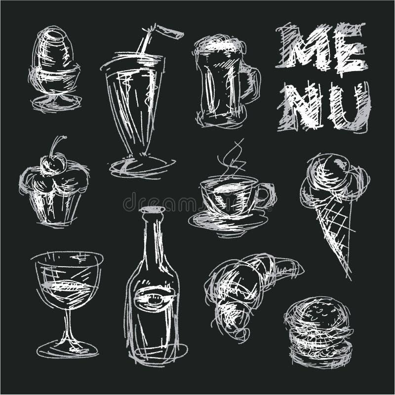 Menu della lavagna per il ristorante e le barre Alimento dei disegni di gesso Alimento disegnato a mano di stile di schizzo illustrazione vettoriale