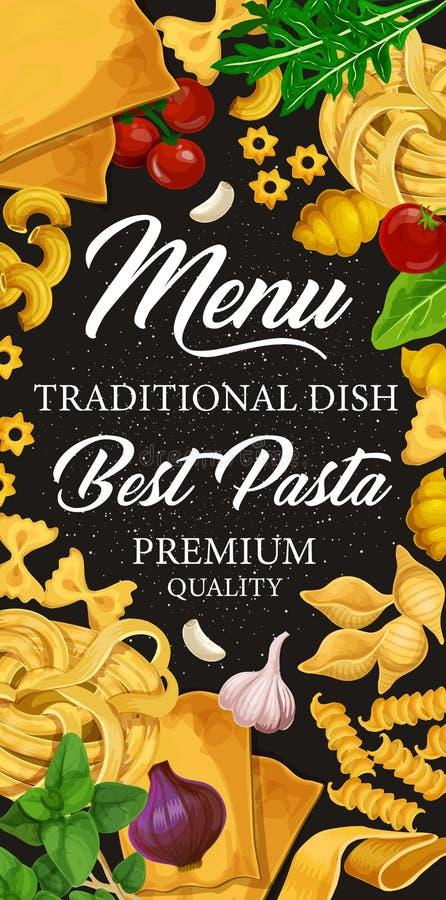 Menu della pasta per i piatti italiani della pasticceria o di cucina illustrazione di stock