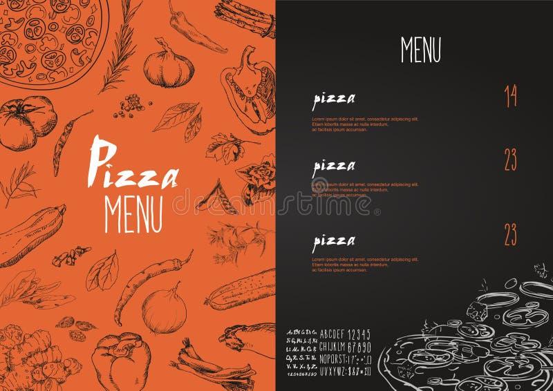 Menu della pizza i nomi dei piatti di pizza, insieme di vettore illustrazione di stock