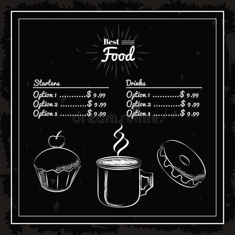 Menu deserts and coffee. Donuts black background royalty free illustration