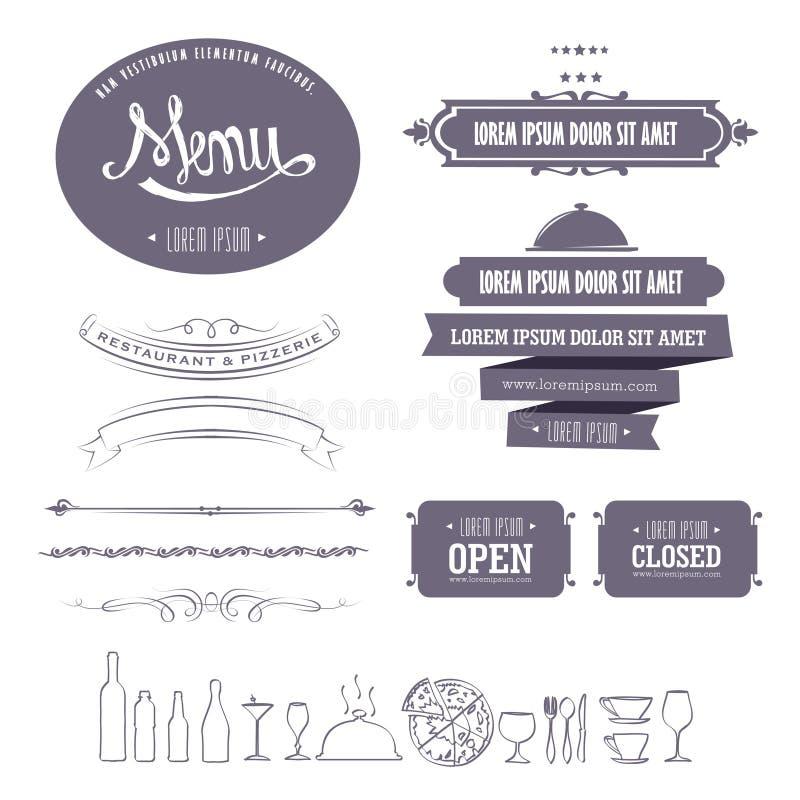 Menu design 2. Retro menu design element set for restaurant and pizza shop vector illustration