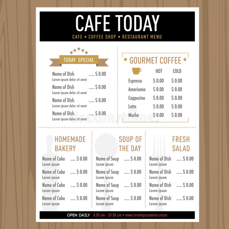 Menu design Cafe restaurant template with icons and text stock illustration
