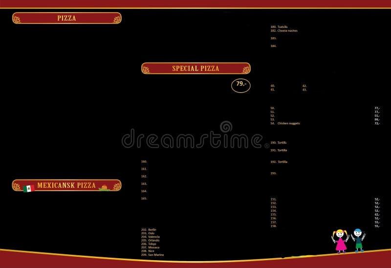 Menu design. Menu brochure. Fast food menu. Menucard project. Menu plaques. Brochure example. Graphics design for restaurants and fast food shop royalty free illustration