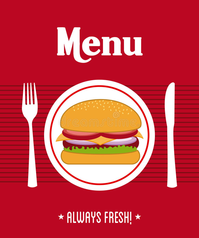 Menu design. Over red background vector illustration stock illustration