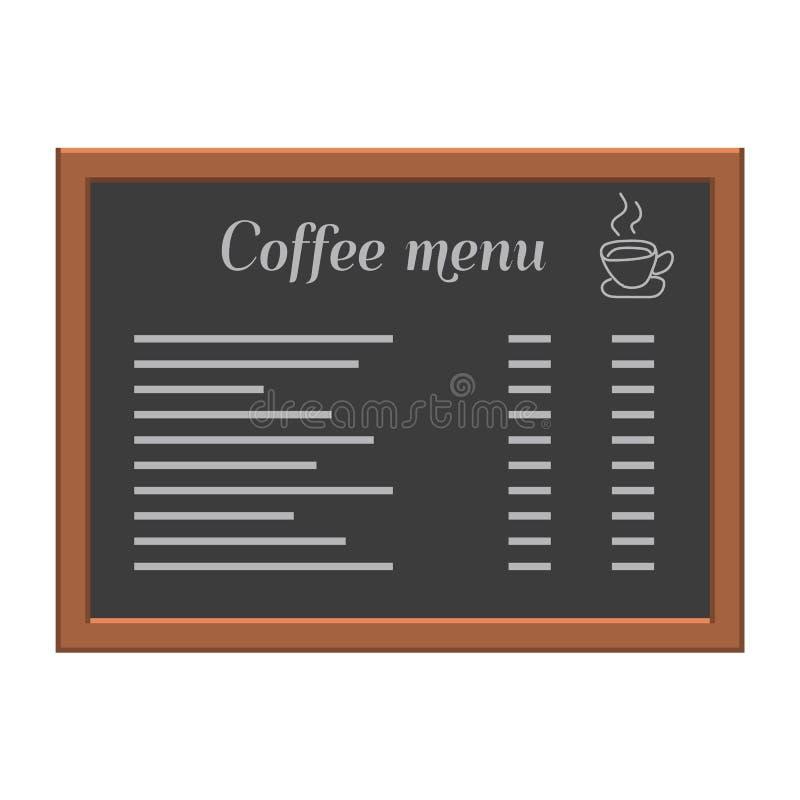 Menu deska przy kawiarnią lub restauracją Drewniana rama Mieszkanie stylowa wektorowa ilustracja ilustracja wektor