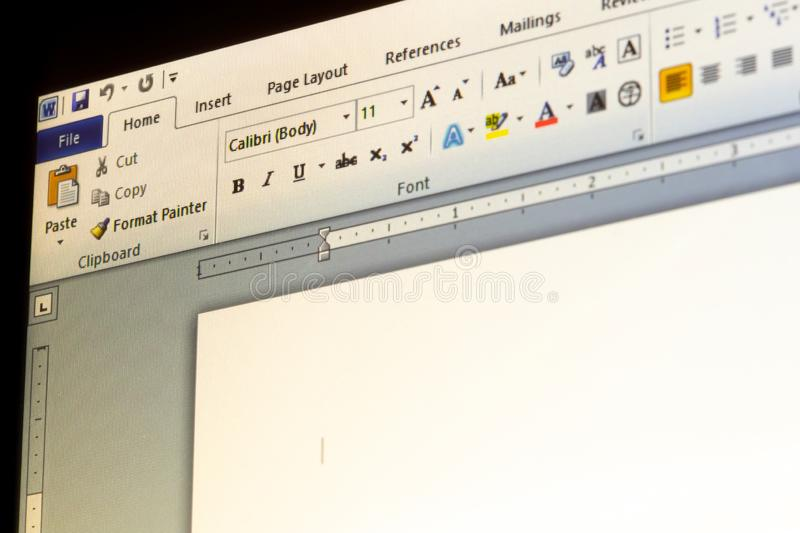 Menu di applicazione di parola di Microsoft Office fotografia stock libera da diritti